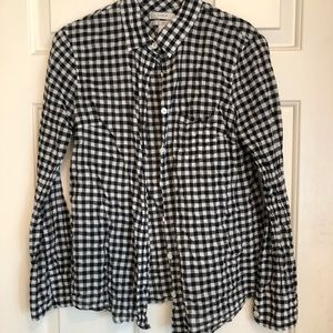 J. Crew black gingham blouse